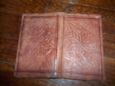 vintage brown soft leather hand made wallet billfold star design 9x3 1/2 closed