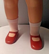 "VINTAGE RED VINYL SHOES & WHITE SOCKS fit 1972 IDEAL 16"" SHIRLEY TEMPLE DOLL"