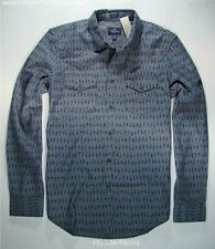 American Eagle Mens Gray & Blue Printed Western Shirt XL NWT