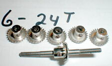 6 metal Crown Gears 24 tooth 48 Pitch NOS slot car Monogram Eldon Revell Vintage