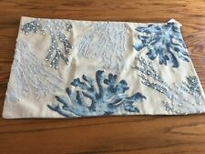 Pottery Barn Under The Sea Embroidered Coral Lumbar Pillow Cover Blue