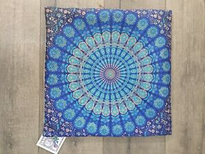 Gringo Fairtrade Blue Printed Square Cushion Cover 40cm - Factory Second