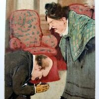 Vintage Postcard Subservient Man and Dominant Woman Embossed Unposted 5.5 x 3.5