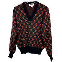 Vintage Hemmingway Point Mens Sweater L Navy Red Argyle Pullover Vneck Golf