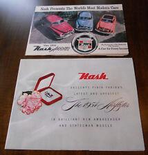 1951 & 1954 Nash Airflytes Ambassador & Statesman Sales Brochure Foldout Poster