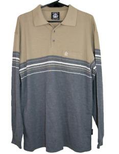 PENGUIN   Men's LS Lightweight Polo Shirt   Like New   Khaki & Grey   Size M