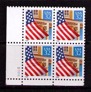 US USA Sc# 2897 MNH FVF PL# BLOCK Flag Over Porch House Window