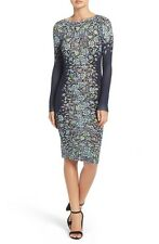 NWT BCBGMaxAzria BCBG Voletta Knit Casual Floral Print Dress Carbon Combo Sz M