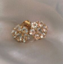 1.33 Ct, Aquamarine Cluster Stud Earrings, 14K Gold Sterling Silver, Butterfly