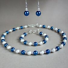 Dark blue pearls collar necklace earring silver wedding bridesmaid jewellery set