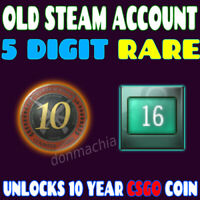 RARE OLD STEAM ACCOUNT - 5 DIGIT - SEPT 12 2003 - 16 YEARS OLD - CSGO 10 YR COIN