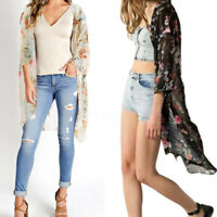 ZANZEA Womens Summer Chiffon Floral Beach Long Tops Kimono Cardigan Coat Plus