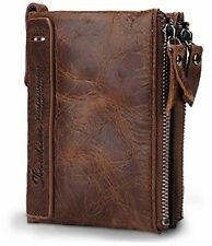 Men's Wallet Vintage Cowboy Horsehide Leather Bifold Purse Coin Wallets Id Cash