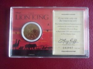 Commemorative Coin Walt Disney RELEASE OF THE VIDIO THE LION KING 1995