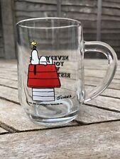 More details for vintage glass snoopy mug schulz cup coffee mug tankard restless bird