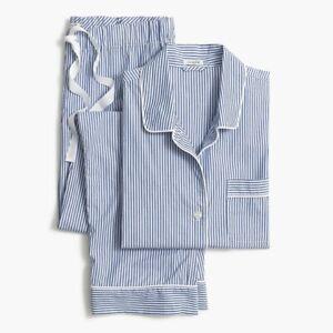 J Crew Women's Printed Stripe Cotton Pajama Drawstring Pant Blue Size Large NWT