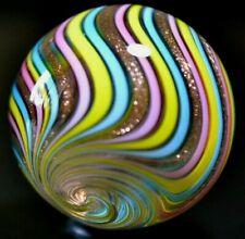 "EDDIE SEESE GLASS MARBLE/1.405""-SPRING JOSEPHS COAT-GOLD LUTZ,TURQ,PINK,& YELLOW"