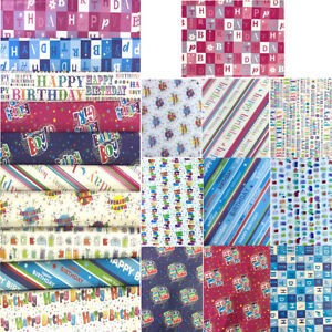 Happy Birthday Wrapping Paper / Sheets ,Top Quality 10 Assorted Unisex