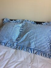 NEW European Pillow Shams Blue White Stripe SPRING Spruce Up B&B Guest Room