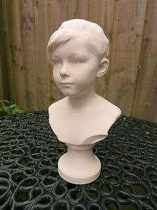 ANTIQUE FINE SEVRES PARIAN BISQUE BUST OF A YOUNG GIRL C1906 SIGNED E HOUSSIN