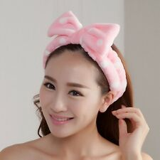 Cute L-Pink Big Bow Dot Soft Towel Hair Band Wrap Headband For Bath Spa Make Up
