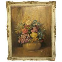 19th Century Oil Painting Still Life Flowers Chrysanthemums Signed John Wilson