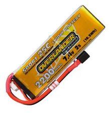 Overlander Sport LiPo Battery 2200mAh 2S 7.4v 25C Deans Connector RC Battery New