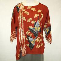 Citron Clothing Red Butterflies 100% Silk Faux Wrap Blouse Plus 2X