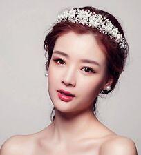 Bridal Princess Rhinestone Pearl Crystal Hair Tiara Wedding Crown Veil Headband