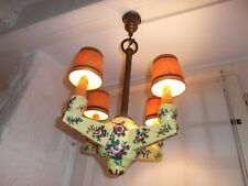 French  vintage 4 light chandelier ceramic with shades pretty floral detailed