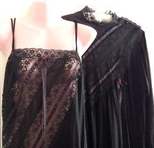 Vintage Black Nylon Peignoir Nightgown Robe Medium M