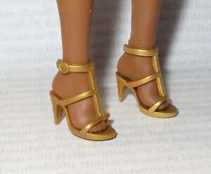 SHOES ~ COLLECTOR CURVY BARBIE DOLL NIGHTTIME GLAMOUR GOLD STRAPPY SANDALS