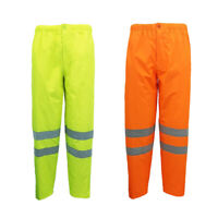 HI VIS Waterproof Pants 3M Reflective Tape Trousers Safety Work Wear Elastic Hem
