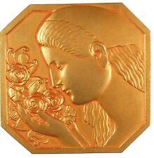 Art deco FEMME AUX ROSES gilt-bronze 56mm x 56mm by Rasumny