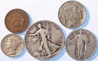 5 COIN OBSOLETE TYPE SET, NICER DATES, GRADES, IND, BUFF, SLQ, 35S WALKER, MERC!