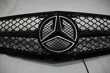 LED BLACK Grill For Mercedes-Benz C Class W204 Front + Emblem C300 C350 2008-14