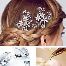 Wedding Bridal Jewel Crystal Flower Pearls Hairpin Rhinestone Hair Clip Comb NEW
