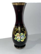 Vintage Purple Glass Vase With Gold Accents Floweral Design