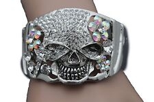 N Women Bracelet Silver Metal Cuff Fashion Jewelry Skeleton Pirate Skull Flowers