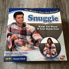 Snuggie Blanket With Sleeves Plaid Adult One Size Fits Most New In The Box