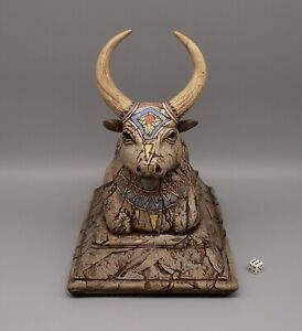 Stunning Studio Pottery Sculpture of The Sacred Bull Nandi, Signed KR93