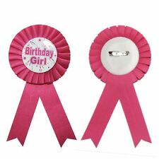 HAPPY BIRTHDAY BADGE GIRLS BADGE ROSETTE BLUE PINK DELUXE AWARD RIBBON
