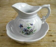 Vintage McCOY Pottery PITCHER & BASIN BOWL # 7528 with Purple Flowers USA