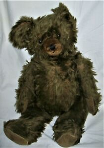 """ANTIQUE 24"""" TEDDY BEAR Brown Mohair - Glass Eyes - Jointed"""