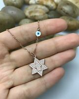 Sterling Silver Micro Pave CZ Star of David HamsaHand Evil Eye Pendant Necklace