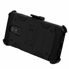 LG Stylo 4/Stylo 4 Plus - Black Heavy Duty Belt Clip Holster Case Tempered Glass