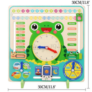 Educational Wooden Calendar Toys Clock Date Weather Board For Kids Learning AU