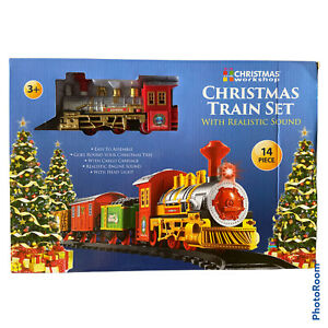 14pc Christmas Train Set Track Deluxe Musical Sound Light Around Tree Decoration