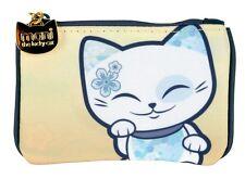 Porte monnaie chat porte bonheur Mani the Lucky Cat beige - bleu pétrole