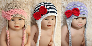 New Knit Crochet Baby Child Kids Boy Girl Bow Hat Cap Newborn Photo Prop Hat Cap